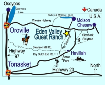 Local map to Eden Valley Guest Ranch.