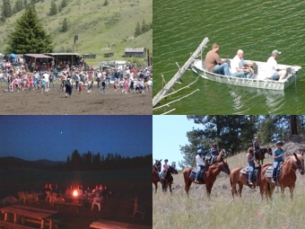 kids,fishing,campfire,horses, lake,stars