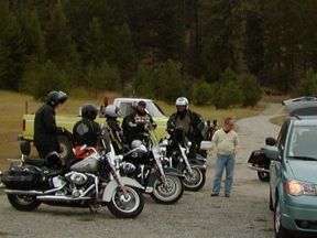 Motorcycle group from Germany, planning their day trip.